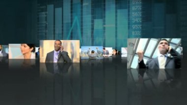 Montage of Multi ethnic managers finance success — Stock Video