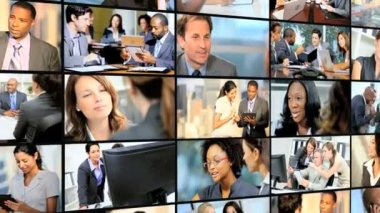 3D video wall of financial view with Multi ethnic managers — Stock Video