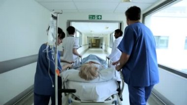 Hospital Patient Ward Transfer Hospital Bed Slow Motion — Stock Video