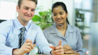 Advertising executives using modern technology — Stock Video