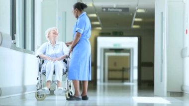 Wheelchair Patient Receiving Care Medical Staff — Stock Video