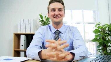 Man using modern wireless video calling — Stock Video
