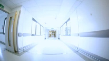 Corridors Modern Health Clinic Wide Angle — Stock Video
