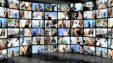 3D video wall of Multi ethnic successful finance meetings — Stock Video