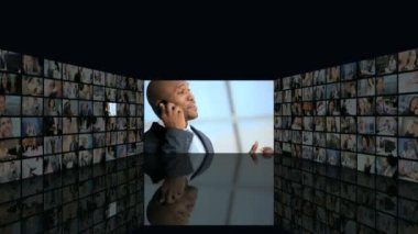 3D video wall montage business managers closing contract on phone — Stock Video