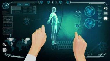 Montage of 3D rotating human figure global study — Vídeo de stock