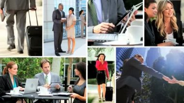 Montage Multi ethnic business meetings closing contracts online technology — Stockvideo
