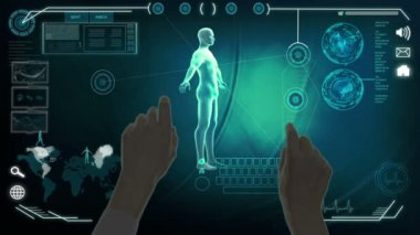 CG montage of touch screen clinical researching hands — Stock Video
