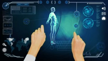 Montage of 3D medical research hands touch screen — 图库视频影像