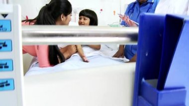 Asian Indian Female Child Patient Hospital Bed — Stock Video