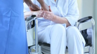 Senior Wheelchair Patient Hospital Medical Staff Close Up — Stock Video