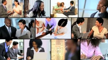 Montage Images Multi Ethnic City Business People — Stock Video
