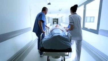 Hospital Patient Ward Transfer Hospital Bed — Stock Video