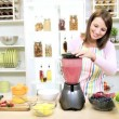 Caucasian Girl Making Healthy Homemade Fruit Smoothie — Stock Video #51979975