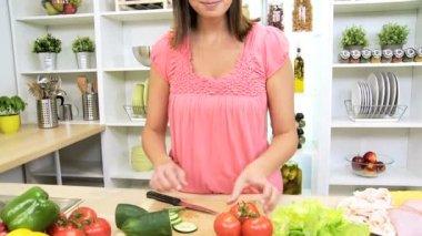 Preparing Healthy Lifestyle Fresh Vegetables — Stock Video