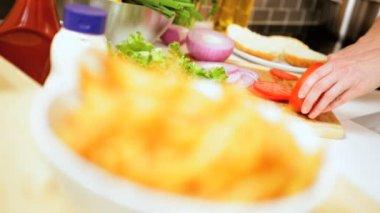 Tempting Salad Vegetables Home Made Golden Chips — Stock Video