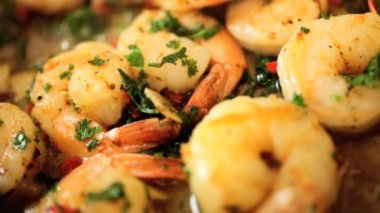Cooking Healthy Fresh Seafood Prawns With Herbs — Stock Video