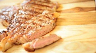Close Up Delicious Cut Fresh T-Bone Steak — Stock Video