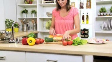 Preparing Healthy Lifestyle Fresh Salad Baguette — Stock Video