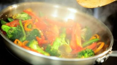 Healthy Lifestyle Stir Fry Cooking — Stock Video
