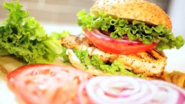 Freshly prepared healthy sandwich — Stock Video