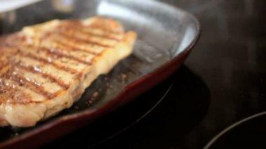 Luxury Gourmet T-Bone Steak Cooking Healthy Meal — Stock Video