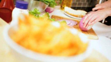 Preparation Classic Burger Fries Meal Home Kitchen — Vídeo de stock