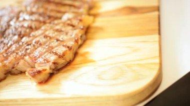 Luxury Cut Gourmet T-Bone Steak Healthy Meal — Stock Video
