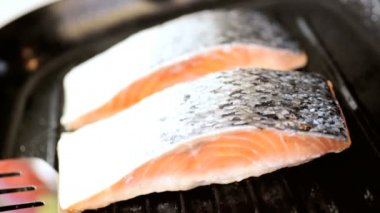 Close Up Healthy Lifestyle Cooking Salmon Steaks — Stock Video