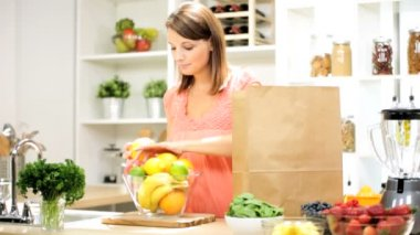 Female Filling Bowl Fresh Organic Fruit — Stock Video