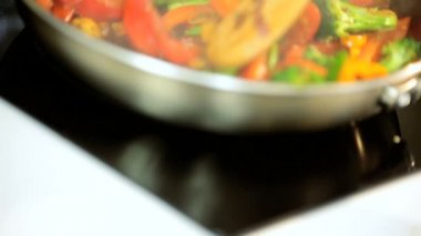 Close Up Colourful Stir Fry Vegetables — Stock Video