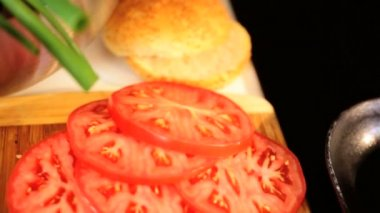 Fresh Minced Beef Burgers Salad Vegetables — Stock Video
