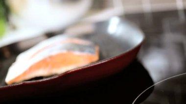 Healthy Eating Fresh Salmon Steak — Stock Video