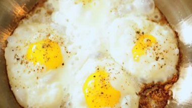 Nutritious Eggs Cooking Part Traditional Breakfast — Stock Video