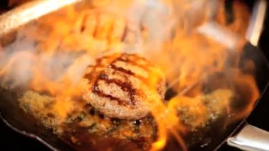 Beef Burgers Flame Cooked Hot Griddle Close Up — Stock Video
