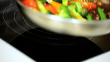 Stir Fry Vegetables Cooked Healthy Meal — Stock Video