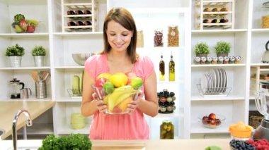 Girl Holding Bowl Fresh Organic Fruit — Stock Video