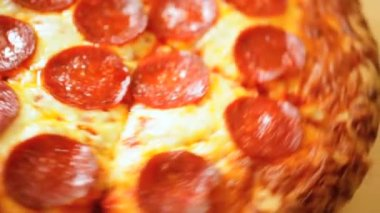 Close Up Fresh Baked Thick Crust Pepperoni Pizza — Stock Video