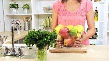 Portrait Girl Holding Bowl Fresh Organic Fruit — Stock Video