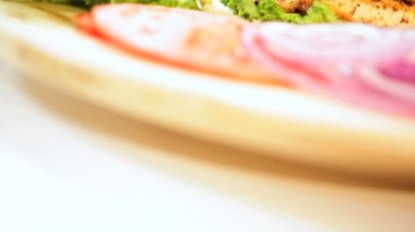 Healthy Sandwich Cooked Chicken Breast Topped Fresh Salad Vegetables — Stock Video