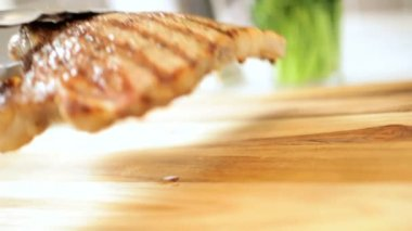 Healthy Eating Fresh Beef T-Bone Steak — Stock Video