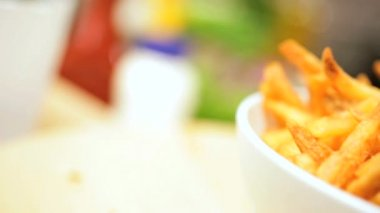 Delicious Home Made French Fries Close Up — Stock Video