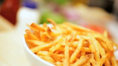 Freshly Cooked Crispy French Fries — Stock Video