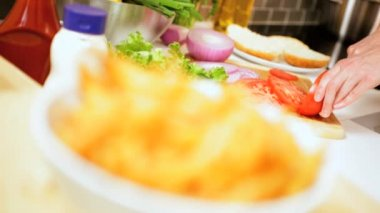 Salad Preparation Crispy French Fries Foreground — Vídeo Stock
