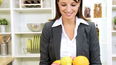 Business Female Holding Bowl Fresh Organic Fruit — Stock Video