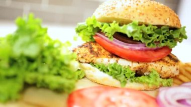 Tasty Meal Healthy Chicken Breast Sandwich Close Up — Stock Video