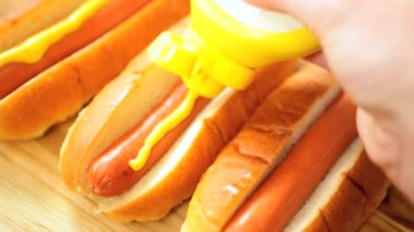 Traditional American Hot Dog Snack Food — Stock Video