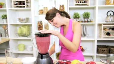 Healthy Caucasian Girl Fresh Fruit Smoothie Before Gym Session — Stock Video