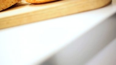 Creamy Mayonnaise Squeezed Onto Bread Bun — Stock Video