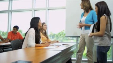 Female college student giving presentation — Stock Video